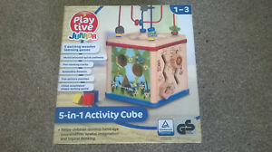 Wooden Baby Toddler Infant  Activity Cube 5 in 1 , Kids Wooden Games , Brand NEW
