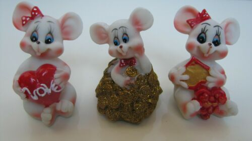 Rare  Figurines three mice, ceramics,  2,8""