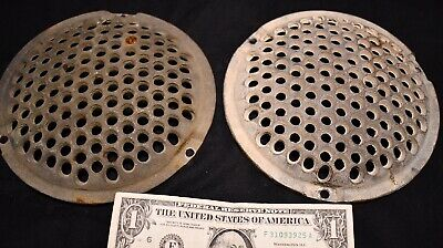 two 6.5 in. VINTAGE STEAM PUNK FLOOR DRAIN FLANGE STRAINER DISC COVER