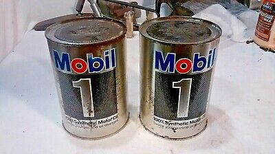 2 - Vintage Mobil 1 Synthetic Motor Oil Quart Metal Tin Cans Gas CANS ARE FULL