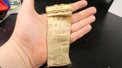 1904 Ivy H&L Co No Bound Brook NJ Raritan Fire Department Ribbon