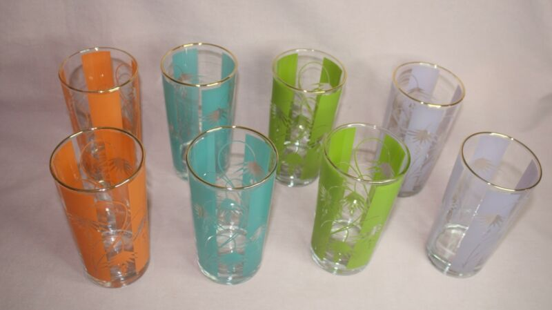VTG. BARTLETT COLLINS DRINKING GLASSES BOXED SET OF 8 BLUE/ MAUVE/ GREEN/ ORANGE