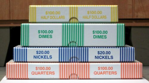 Set of 4 Bank Teller Coin Roll Storage Boxes Qtr., Nickel, Dime, Half Dollar