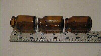 3 pc lot Vtg Mini Brown Amber Glass Apothecary Medicine Bottle Jar marked I 2 15 ()