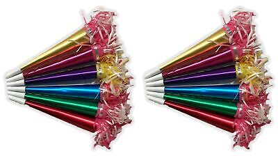 Party Time Foil Horns Fringes Noisemakers Happy New Year Party Supply Set 12/PK