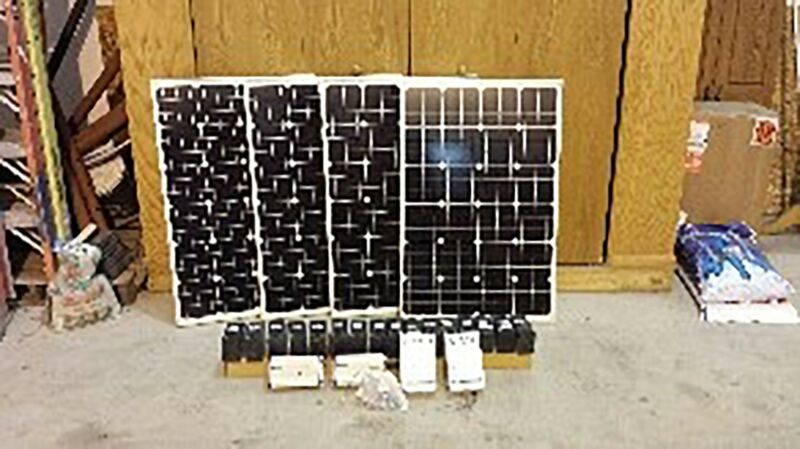 2-100W Solar Panels, 1 Inverter, 1 Charge Control, & 8-12VDC/7Ah Batteries