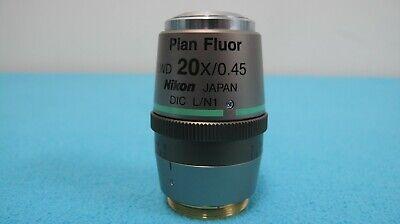 Nikon Plan Fluor Elwd 20x 0.45 0-2 Wd Dic Ln1 Microscope Objective Fast Ship