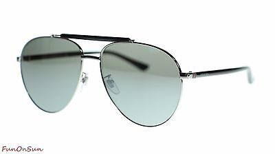 Gucci Mens Aviator Sunglasses GG0014S 001 Ruthenium Black Silver Lens 60mm 13cecad285a