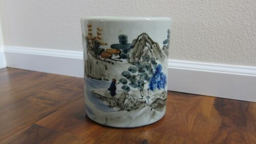 Vintage ~ Chinese Asian Pot Planter Crock ~ Asian Hand Painted Scene ~