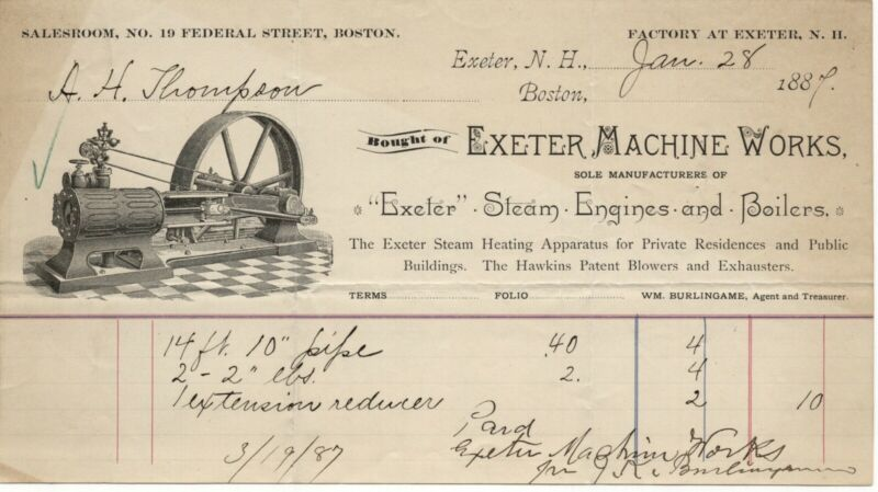 1887 EXETER MACHINE WORKS STEAM ENGINES BOILERS HEATING HAWKINS PATENT NH BILL