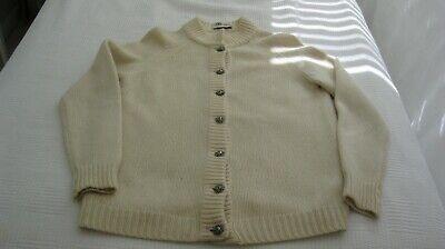 DALTON COUTURE 1960s Vintage Cream Ivory Cashmere Cardigan Sweater LS Size M