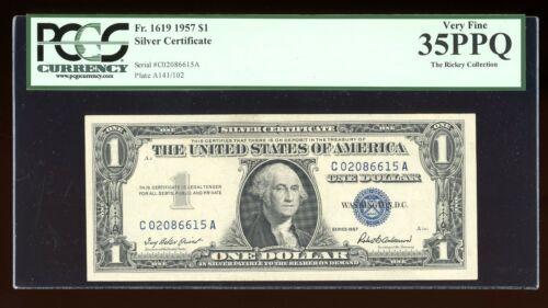 DBR 1957 Silver Fr. 1619 CA Block PCGS 35 PPQ Serial C02086615A