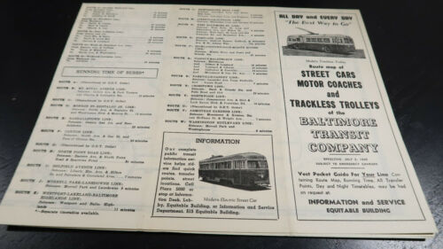 July 2 1945 Baltimore Transit Company Time Schedule Route Map