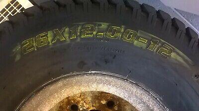 26 x 12.00-12 Super Turf Tyre c/w wheel 5 stud, pcd 161/162 mm, valve protection