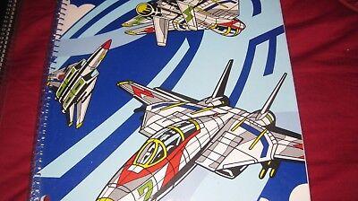 Large New Vintage Sanrio Jets Design Spiral Notebook for Binder 1990 LOOK!