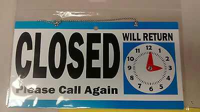 Open Closed Sign 11.5 X 6 Double Sided Hanging Signage Will Return Clock