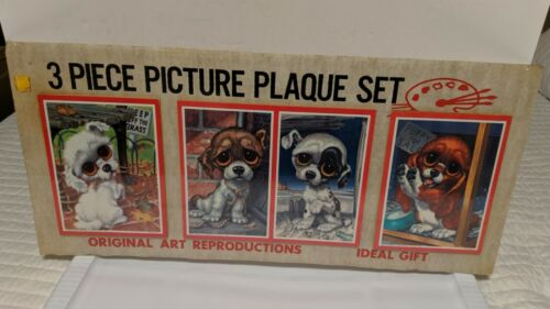Vintage 1965 Gig Litho Picture Plaque Set Big Sad Eyes Puppies Dog NIP Sealed