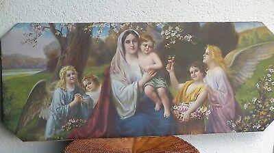 Antik Kunstdruck, L. M. Roth, Maria, Jesus, Schutzengel, Shabby,Schlafzimmerbild