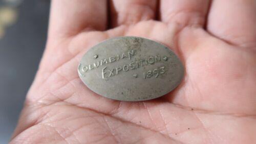 1893 WORLDS FAIR SOUVENIR COIN ROLLED ELONGATED LIBERTY HEAD NICKEL