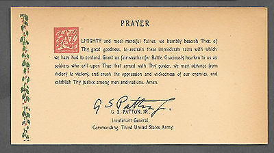 George S Patton Signature & Weather Prayer Reprint Original Period Paper *079](Weathered Paper)
