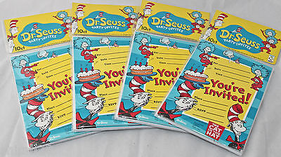 Dr. Seuss Cat in the Hat Birthday Invitations Party Favors 4 Packs - 40 Total (Cat In The Hat Invitations)