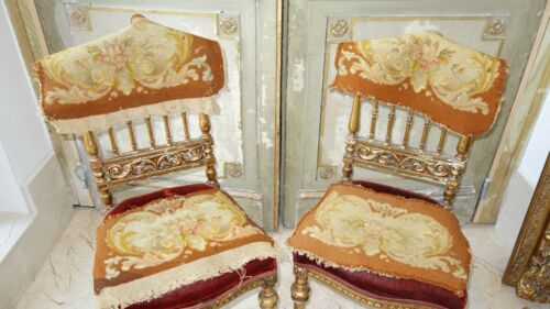 CHARMING FRENCH ANTIQUE NEEDLEPOINT TAPESTRY  4pc  for PILLOW CHAIR SEAT COVERS