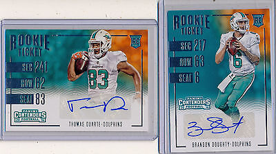 MIAMI DOLPHINS  2016 Contenders Rookie Ticket Lot (2) - DOUGHTY & Variant DUARTE
