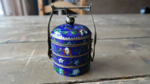 """Antique Chinese Cloisonne Stacked Spice / Tea / Opium Jars 3.5"""""""