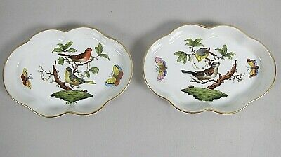 "Pair of Herend Rothschild Bird 5"" Scalloped Trays 2 Motifs 7705 RO"