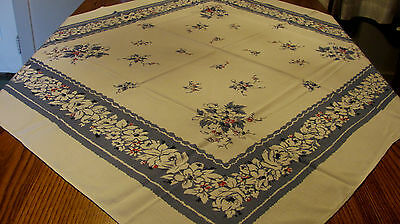 Vintage Slate Blue Red Black Roses Floral Tablecloth 47x54 A52