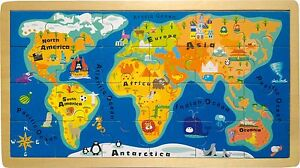 World map puzzle ebay wooden framed puzzle world map 24 pieces wood geography 18 months2 years child gumiabroncs Gallery