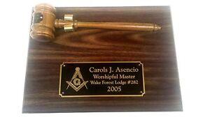 Personalized Laser Engraved Masonic or organization Plaque & Gavel