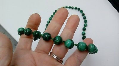 Vintage Dark Green Jade Graduated Gemstone Strand Necklace 21""