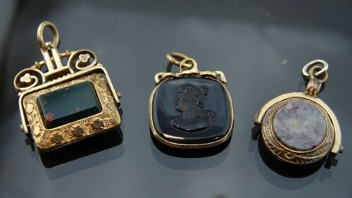 Victorian Gold filled pocket watch chain double sides fobs/pendants/charms