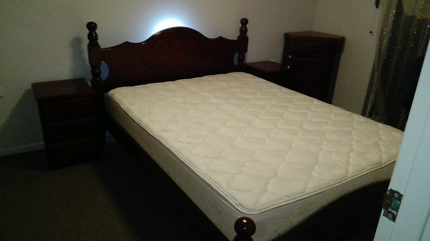 Solid timber Queen bed and bedsides x2