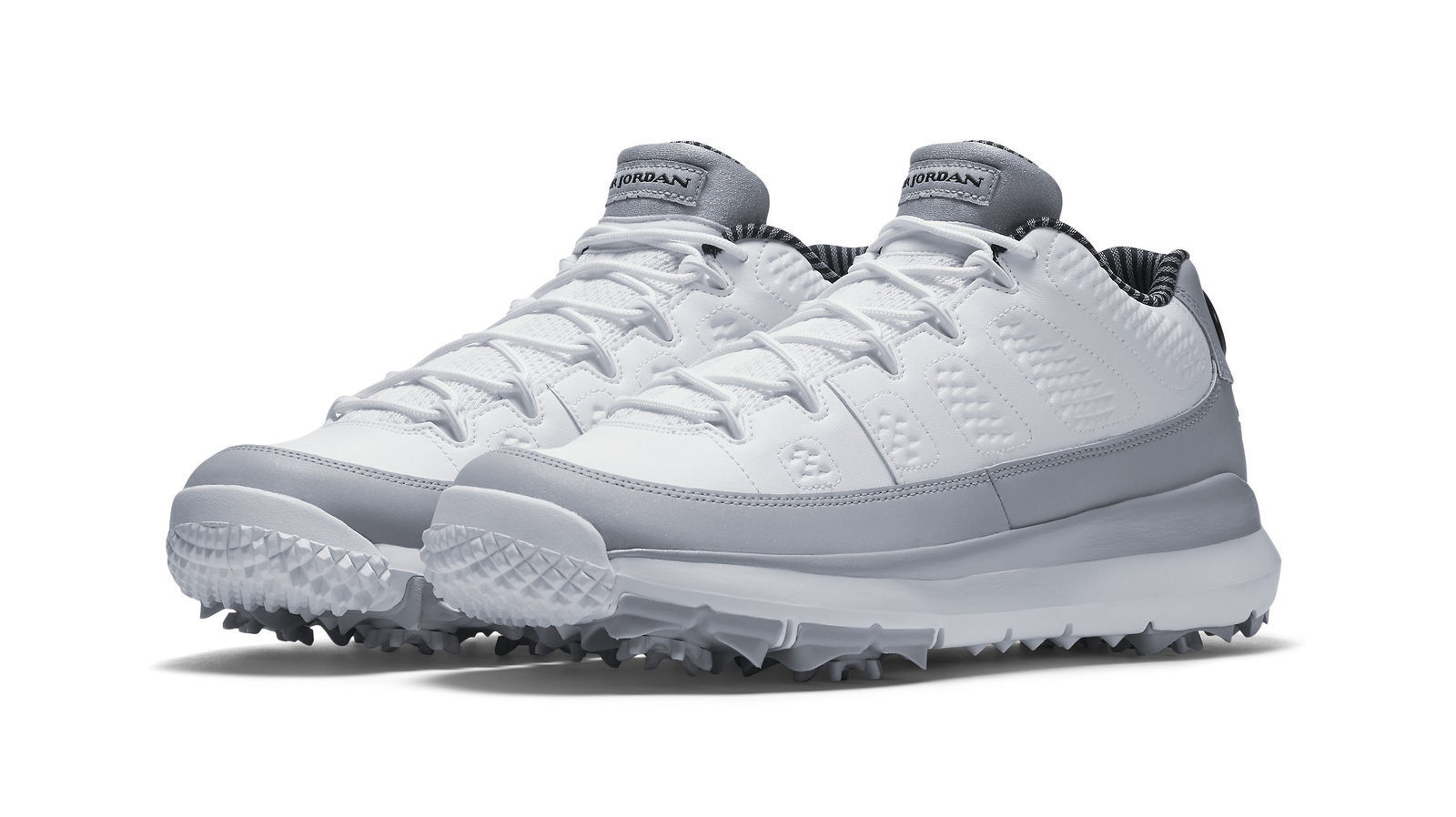 95b2747f3757a5 Size 9.5 Men Nike Air Jordan 9 IX Retro Golf Shoes Barons White Grey ...