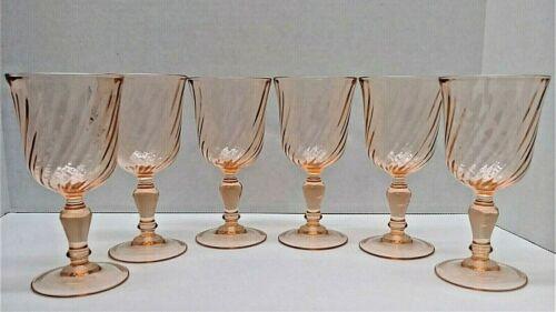"6 Vintage Arcoroc Rosaline Pink Swirl Wine Goblets 5 3/4""  Luminarc France"