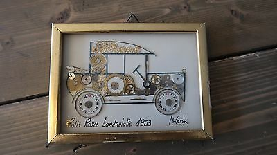 L. Kerch Rolls Royce Landaulatte 1903 Collage Art 6 x 4.5 inches