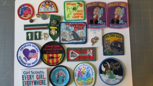 Large Lot of Misc Girl Scout Patches & Pins 1990s-2000s