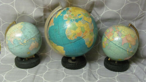 Vintage 3 Rubber Tire Ashtray Globes With Goodyear Tires 2-12