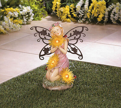 Garden Blooms Fairy Solar Statue For Outdoor Art Decor Garden Yard Lawn - New