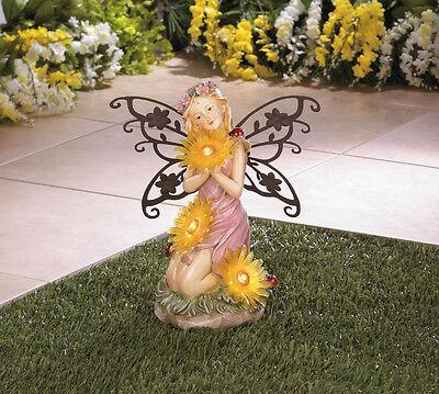Garden Blooms Fairy Solar Statue For Outdoor Art Decor Garden Yard Lawn - New