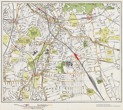 Blackheath Lewisham Catford old Map London 1932 #95-96