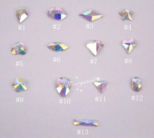 100 Pcs Small Shape Top Crystal Ab Czech Crystal Rhinestone Flatback Nail Art
