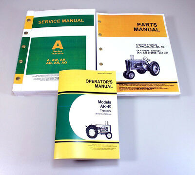Service Manual Set For John Deere Ar-40 Ar40 Tractor Parts Owners Operator