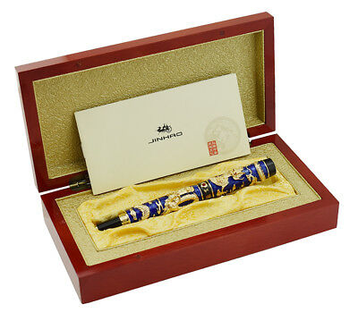 Jinhao Blue Cloisonne Double Dragon Fountain Pen Set with Rosewood Gift Box
