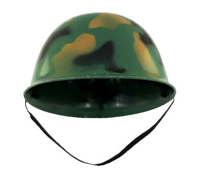 Childs Plastic Green Camo Army Military Soldier Combat Helmet Costume Accessory