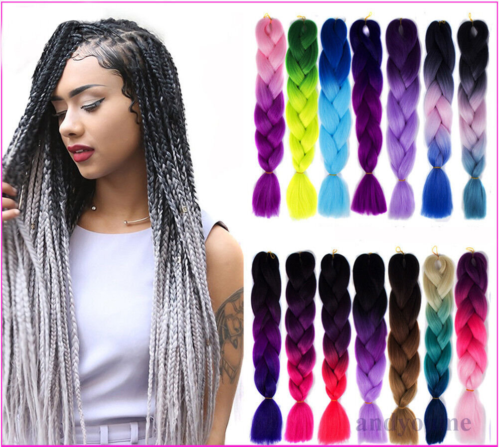 Multi Color 24 Ombre Synthetic Jumbo Braiding Hair Extension Afro