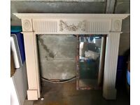 Wooden fire surround cream, free collection only