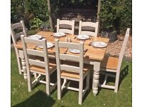 SUPERB PINE FARMHOUSE TABLE & 6 BEECH CHAIRS, OLD CREAMERY, HAND PAINTED F & B